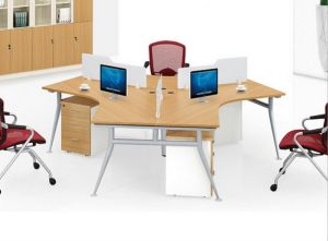 Melamine Office Partition 6 Seats L Shape Workstation (HX-NCD302) pictures & photos
