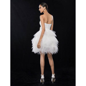 Petite A-Line Strapless Short Knee-Length Satin Tulle Cocktail Party Dress pictures & photos