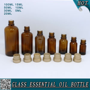 Whole Set Amber Glass Essential Oil Bottle with Gold Plastic Cap with Plug pictures & photos