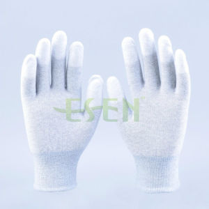 Ddsafety Hot Sale PU Gloves Carbon Fiber Liner. Knit Wrist White PU Coated on Finger. Safety Gloves pictures & photos