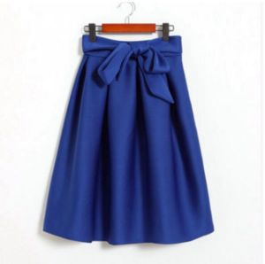 Womens′ Basic High Waisted A Line Trumpet MIDI Space Cotton Skirt pictures & photos