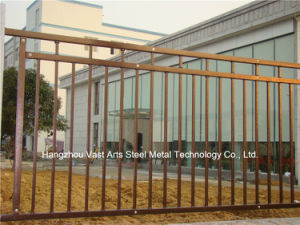 Haohan Customized Simple Industrial Residential Galvanized Steel Flat Top Fence 80 pictures & photos