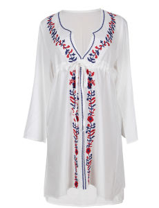 2017 OEM Accept Hot Selling Wholesale Long Sleeve Summer Embroidered Beach Dress pictures & photos