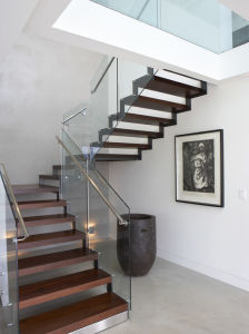 Hiding Stringer Floating Staircase/Wood Floating Staircase /Customized Staircase pictures & photos