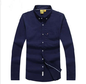 Men′s Business Casual Cotton Long Sleeve Oxford Slim Fit Plain Shirt with Pocket pictures & photos