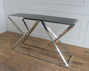 Metal with Black Tempered Glass Plate Console Table pictures & photos