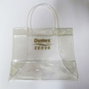 Hot Selling Recyclable Durable Clear PVC Shopping Bag with Button Closure pictures & photos