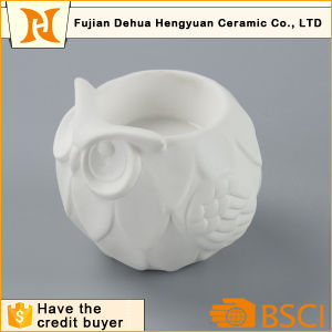 Cute Owl Shape White Ceramic Candle Holder for Home Decoration pictures & photos