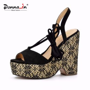 Lady Casual Lace-up High Heels Weave Platform Women Wedge Sandals pictures & photos