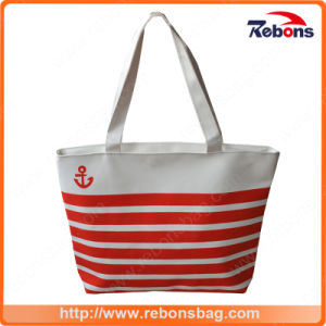 Custom Navy Striped Canvas Bags Shopping Bag pictures & photos