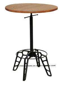Industrial Steel Restaurant Wooden Vintage Swivel Dining Table pictures & photos
