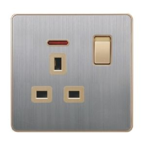 British Standard Stainless 13A Square-Pinned Switched Socket with Neon