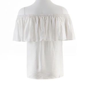Summer Fashion off-Shoulder White Ruffle Blouse Top Women Clothing 2017 pictures & photos