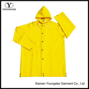 Rain Wear Yellow 100% Polyester PVC Waterproof Oudoor Rain Jacket pictures & photos