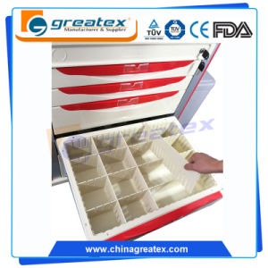 High Quality Big Size Hospital Drawer Trolley with IV Pole pictures & photos