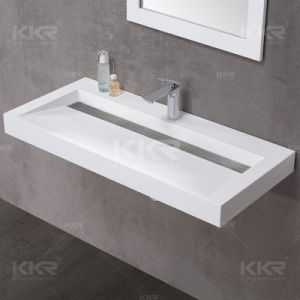 Modern Wall Hung Bathroom Sink Stone Basin pictures & photos