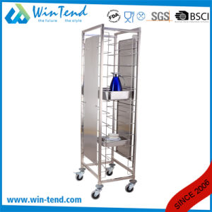 Hot Sale Commercial 12 Tiers Dual Rows Double Tray Clearing Rack Trolley with Side Panels pictures & photos