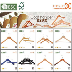 Eisho Nature Wood Efficient Particle Wooden Coat Suit Hangers pictures & photos