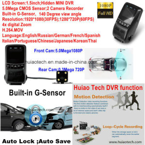 "New 1.5"" Full HD1080p Car DVR with 5.0mega CMOS, Dual Camera Recorder, GPS Tracking Route; WDR, Night Vision, Motion Detection DVR-1511 pictures & photos"