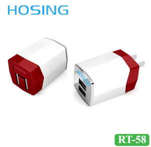 5V 3100mA Dual USB Travel Charger EU/UK/Us Plug Black/White/Gray/OEM Color for Universal Mobile Phone pictures & photos