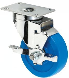 3inch Medium Sized Biaxial Blue PVC Caster with Brake