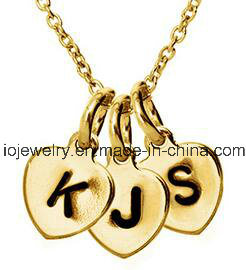 Hand Stamped Double Charm Gold Plated Initial Necklace pictures & photos