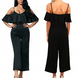 Fashion Women Sexy Slim V-Neck Ruffle Backless Jumpsuit Pants pictures & photos