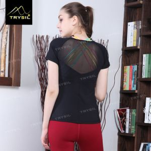 Sexy Yoga T Shirt Black Shirt Blakless Tops for Sport pictures & photos