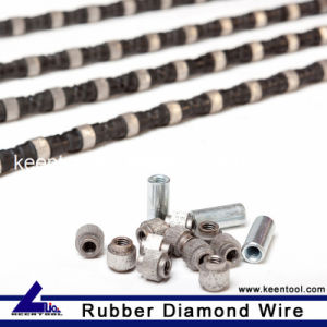 Rubber+Flat Spring Reinforced Diamond Wire Saw with 10.5mm Diameter Sintered Beads for Cutting Steel and Cast Iron pictures & photos