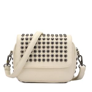 Studded Flap Gusset Rivets Casual Crossbody Bag