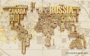 The Map of The World Made of Letters UV Printed on Wall Panel for Home Decoration pictures & photos