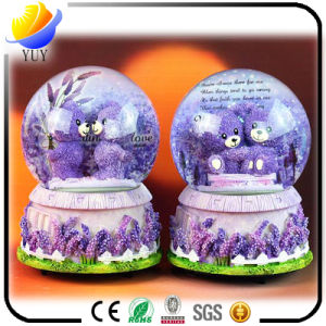 Creative Gifts Purple Lavender Lovers Bear with Light Snow Crystal Rotating Water Polo Ball Music Box pictures & photos