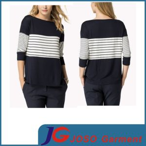 Loose Style Shirt Close-up Women Top Strip Jersey (JS9021) pictures & photos