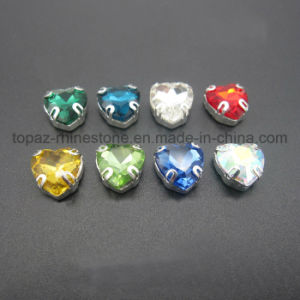 Heart Shape Sew on Rhinestone Fancy Crystal in Metal Frame (SW-Heart 16mm) pictures & photos