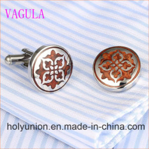 VAGULA Designer Rosewood Cuff Links Stainless Steel Red Wood Cufflinks 361 pictures & photos