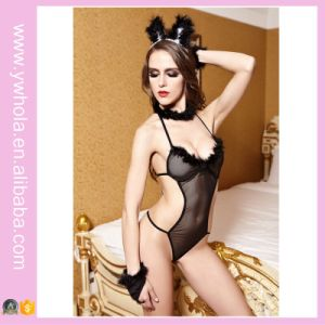 Hot Selling Black Bunny Cosplay Jumpsuit Sexy Lingerie Set High Quality pictures & photos