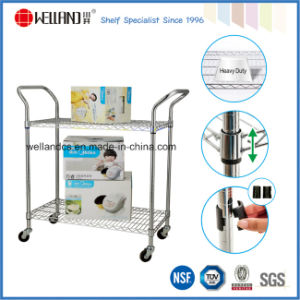 Commercial 2 Tiers Stainless Steel Wire Utility Hand Push Trolley pictures & photos