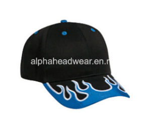 High Quality Flame Embroidery Bill Cotton Motercycle Racing Sport Cap pictures & photos