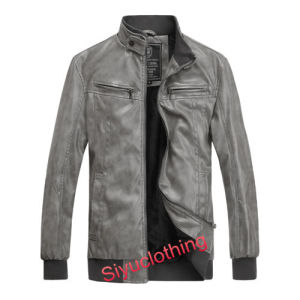 Men Leather Casual Fashion Clothing Waterproof Jacket (J-1617) pictures & photos