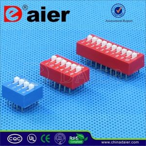 SGS Red/Blue Color Slide Type DIP Switch with 1~12 Positions pictures & photos
