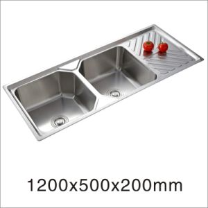 Kitchen Stainless Steel Double Bowl with Side Board Counter Top Kitchenware Sink (12050YQ-1) pictures & photos