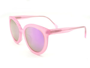 High Quality Tortoise Pink Frame Round Lens Acetate Sunglasses pictures & photos