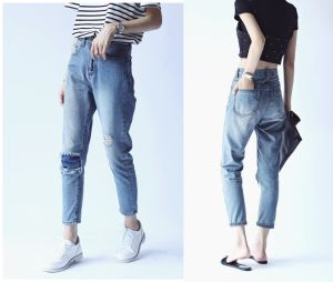 Knee Hole Denim Pants Jeans Clothing for Girl (JC1355) pictures & photos