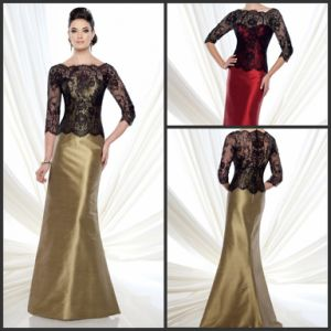 Black Lace Jacket Formal Gowns Gold Satin Mother Evening Dresses Md21507 pictures & photos
