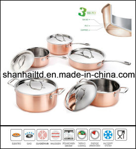 3 Ply Body All-Clad Copper 10PCS Cookware Set pictures & photos