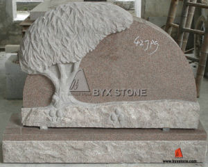Red Granite Tree Shape Carving Headstone for Cemetery pictures & photos