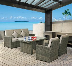 Outdoor Leisure Furniture Half Round Rattan Sofa with Table pictures & photos