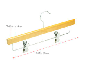 Natural Wooden Hanger for Pants / Trousers / Skirt with Metal Clips (YLWP-b7) pictures & photos