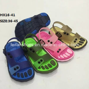 Lady and Men Colorful Casual Summer Beach Slipper PVC Slipper Sandal Shoes (HX16-41) pictures & photos