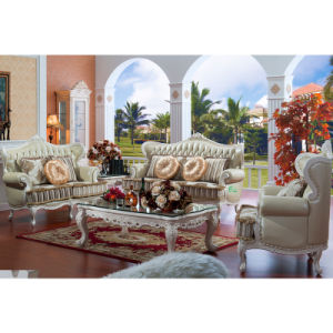 Home Leather Sofa with Wood Table (D503)